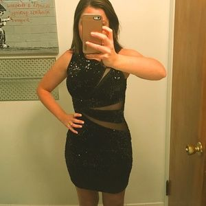 Mystic Bodycon Black Sequin Dress (Size S)